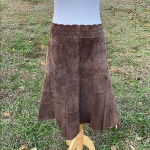 Cabi Gored Suede Chocolate Brown Leather Skirt